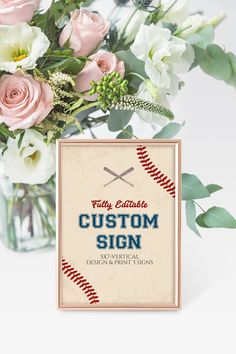 5x7 Custom Sign Template, Baseball Party Signage, Vintage Baseball Printable, Design your own, Instant Download, EDIT ALL TEXT, B01 Sign Templates, Baseball Party, Party Signs, Design Your Own, Signage, Print Design, Place Card Holders, Printables, Print Layout