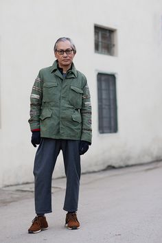 Nice M65 jacket! Might have to replicate! Visvim FTBs and cropped pants!