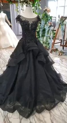 Puffy Cap Sleeves Black Long Prom Dress with Appliques, Charming Beading Formal Dress This dress could be custom made, there are no extra cost to do custom size and color. Black Wedding Dresses, Cheap Prom Dresses, Bridal Dresses, Wedding Gowns, Formal Dresses, Black Weddings, Wedding Black, Bridesmaid Dresses, Black Prom