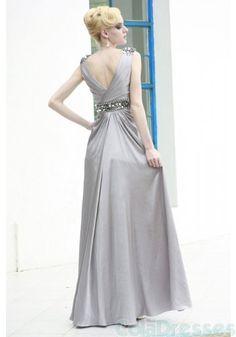Grey Silver Sleeveless V-Neck Evening Gown