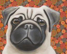 Pug Dog Painting by DawgOnIt on Etsy, $50.00