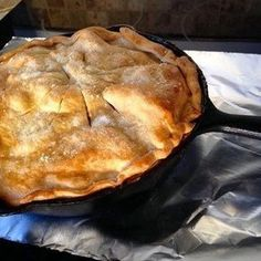 """Grandma's Iron Skillet Apple Pie I """"WOW! I will definitely be making this again. It's PERFECT as is :-)"""" Grandma's Iron Skillet Apple Pie - """"This three-layer apple pie is a Southern favorite! Cast Iron Skillet Cooking, Iron Skillet Recipes, Cast Iron Recipes, Skillet Meals, Cast Iron Skillet Apple Pie Recipe, Dutch Oven Cooking, Dutch Oven Recipes, Cooking Recipes, Dutch Ovens"""