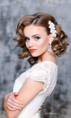 Elstile short vintage curly wedding hairstyles