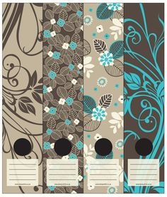 Wallpaper inspired Lever Arch labels of light grey, charcoal and light blue leaves and flowers. Self-adhesive. 4 different labels in a packet.