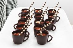 Have always loved chocolate cups w/mousse - creme brulee - panna cotta or anything else in them.