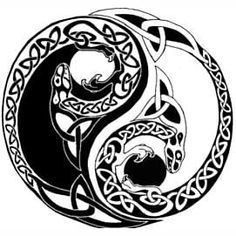 Arte Yin Yang, Ying Y Yang, Yin Yang Art, Yin Yang Tattoos, Celtic Symbols, Celtic Art, Celtic Knots, Celtic Mandala, Tattoo Ideas