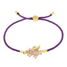 Designer Bracelets and Bangles, Unique Jewellery by Missoma - - Purple Flying Pig rope bracelet for LUCK Missoma Jewellery, Jewelry Gifts, Jewelry Necklaces, Unique Jewelry, Cord Bracelets, Bangles, Daisy London, Flying Pig, Bracelet Designs