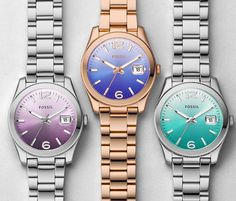 SEA & BE SEEN: Recalling long afternoons at the swimming pool, these color-soaked gradient dials ride a wave of cool. #Fossil