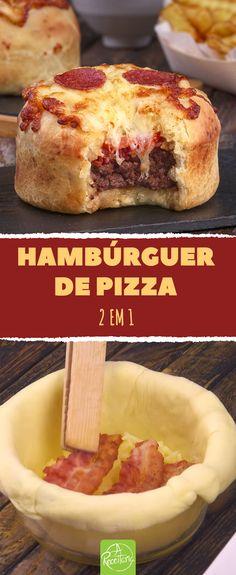 Para os indecisos: receita deliciosa combina os dois melhores pratos de fast-food. #receita #receitas #pizza #hambúrguer #jantar #almoço Throw A Party, Carne, Chapati, Quesadilla, Hamburger, Keto Recipes, Croissant, French Toast, Bruschetta