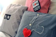 15 creative DIY Father's day gift ideas-- I really like this shirt pillow idea