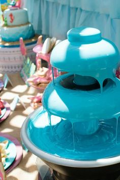 """Water"" Chocolate Fountain for under the sea or could make green for ""slime"" or pink for a princess party"