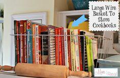 New cook book storage cookbook display wire baskets ideas Cookbook Display, Cookbook Storage, Diy Storage, Storage Baskets, Storage Spaces, Storage Ideas, Smart Storage, Large Wire Basket, Wire Baskets