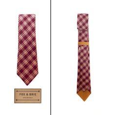 Fox & Brie  Mulberry Plaid Necktie