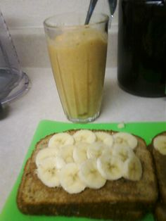 Almond butter and banana sandwich with pineapple banana smoothie #eattolive