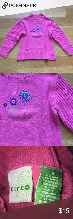 Girls pink sweater with roses Cisco size medium. Like new. Details in photo. Circo Shirts & Tops Sweaters