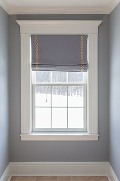 Custom Window Treatment Solutions - roman shade with trim - provided by Sheffield Furniture & Interiors (PA, MD, VA)