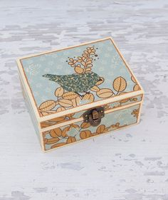 Decoupaged trinket box  Bird decor  Small jewelry box  by LekaArt