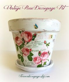 Vintage rose flower pot decoupage mothers day gift painted terracotta shabby chic decor unique clay pot gift for grandma 7 inch