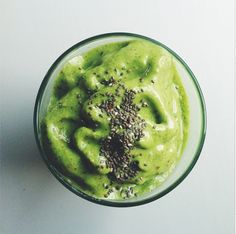 Green smoothie beauty for breakfast -- banana, pineapple, mango, kale, chia, bee pollen, almond milk, and a bit of honey.