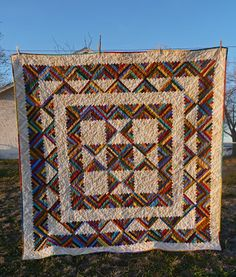 Lovin' Life At The End Of The Dirt Road: Log Cabin Quilt in the Rain