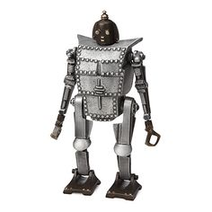 """Recycled metal robot coin bank """"for securing your pocket change against the forces of evil."""" We could all use a bit of that."""