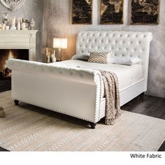 Furniture of America Victor I Button Tufted Sleigh Bed (White Fabric Cal. King), Size California King