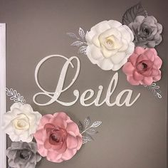Set of 6 paper flowers paper roses paper flower backdrops Wooden Letters For Nursery, Letter Wall Decor, Wood Letters, Nursery Name, Nursery Signs, Nursery Wall Decor, Paper Flower Wall, Paper Flower Backdrop, Paper Roses
