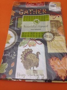 Superieur Gather Together Thanksgiving Vinyl Tablecloth Flannel Backing 60 Inch Round  15 #BountifulHarvest #autumn #