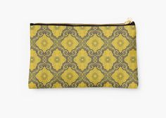 """""""""""Golden flowers"""", floral pattern, bohemian arabesque, yellow and brown"""" Studio Pouches by clipsocallipso 