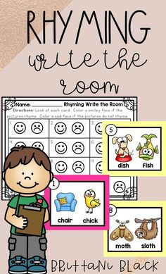 Rhyming Write the Room Best Picture For Montessori Activities literacy For Your Taste You are looking for something, and it is going to tell you exactly Rhyming Kindergarten, Kindergarten Literacy Stations, Kindergarten Freebies, Rhyming Activities, Preschool Literacy, Montessori Activities, Kindergarten Teachers, Literacy Centers, Writing Centers
