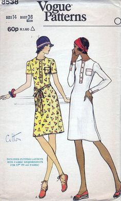 70s Vogue sewing patterns 8538, dress sewing pattern, bust 36 inches, A-line…