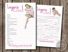 Retro Housewife LINGERIE Mad Libs - Personalized Bachelorette Party Game - Bridal Shower - PDF Printable Option