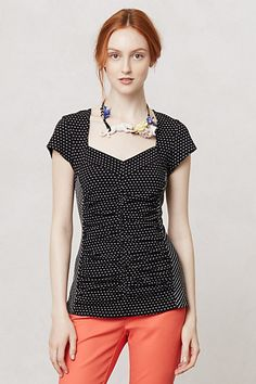 Ruled & Ruched Sweetheart Top #anthropologie Stylist's tips on what to wear for work.  This is so pretty!