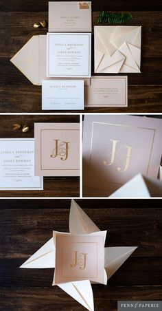 Unique Blush and Gold Origami Wedding Invitation with Custom Monogram design by Penn