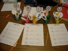 Vowel sorts printable with recording sheet!