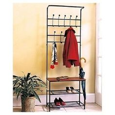 Rack Coat Hat Shoe Hall Tree Bench Entryway Entrance Foyer Mudroom Storage NEW