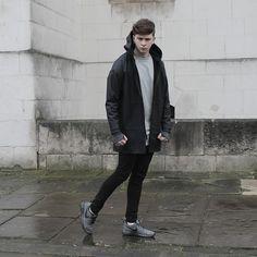 Represent Clothing Rubberized Jacket, Open Arnold Sweater, Topman Skinny Jeans, Nike Roshe Run