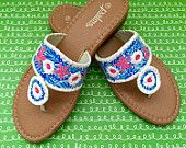 Hand painted sandals inspired by the style of Jack Rogers and oainted in a Lilly Pulitzer like design similar to Sea Urchin print.