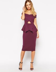 Image 1 ofASOS Bardot Cross Front Peplum Midi Dress