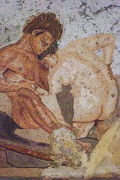 Mosaic of a satyr and nymph found in a bedroom of the House of the Faun in Pompeii Roman 1st century BCE - 1st century CE