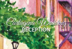 Cartagena Wedding Reception. Beach Wedding. Destination Wedding. Cartagena Wedding invitation by Hand-Painted Weddings.