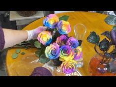 Как сделать радужную розу - YouTube