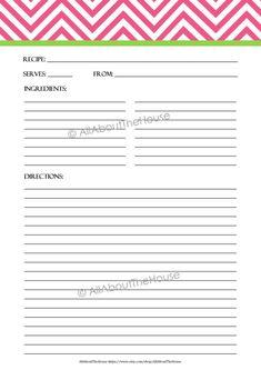 Printable Chevron Recipe Template - Recipe Card - Recipe Organisation - Recipe Box - Cooking Printable - Product number 411