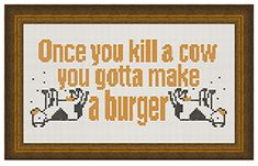 Fuldesign cross stitch embroidery pattern Once you kill a cow you gotta make a burger Cross Stitch Embroidery, Embroidery Patterns, Ascii Art, Weird Art, Ghostbusters, Pink Floyd, Nicki Minaj, Rolling Stones, The Beatles