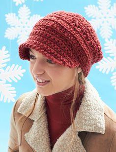 Yarnspirations.com - Bernat Slouchy Peaked Hat - Patterns    Yarnspirations