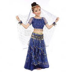 Danza del Ventre Completi per Donna da esibizione Raso Paillettes Monetine Dorate Monetine argentate 3 Pezzi Top Pantaloni Cintura Abiti