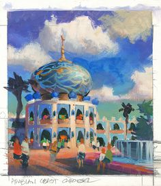 Color Rough Preliminary for Arabian Coast, Tokyo Disney Sea Concept Art.  Artist: Phillip Freer