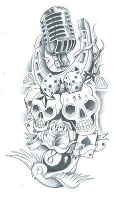 15 ideas tattoo old school sleeve deviantart for 2019 Pin Up Tattoos, Music Tattoos, Skull Tattoos, Trendy Tattoos, Top Tattoos, Tattoo Old School, Old School Tattoo Designs, Stencils Tatuagem, Tattoo Stencils