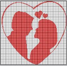 risco ponto-cruz namorados - coração