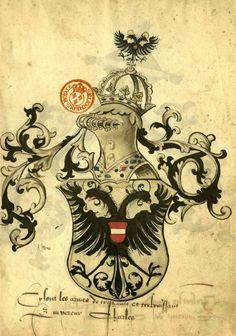 «Armorial dit d'Anthoine de Clémery», vers 1550 [BNF Ms Fr 23076] --  ark:/12148/btv1b530382890 -- Armorial très nettement inspiré de l'armorial de Lutzelbourg -- f°2r: l'empereur Charles [Qint]
